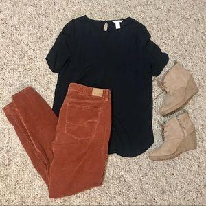 H&M Black Crêped Short Sleeve Top Size 14